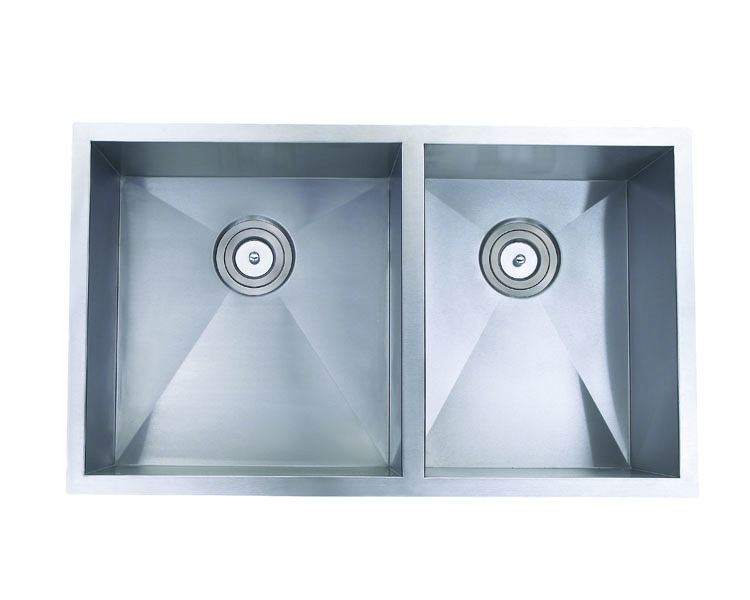 Hand Crafted, Undermount, Zero Radius Double Bowl Kitchen Sink, Model: RA3219BL (60/40)