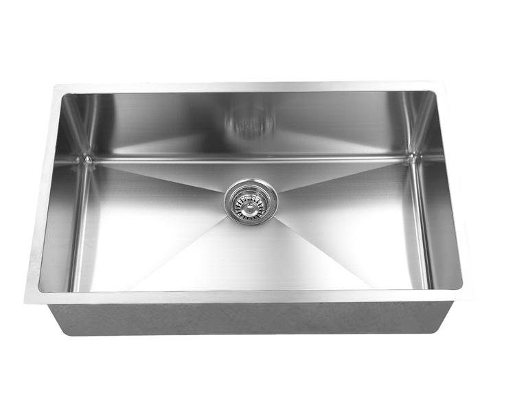 Hand Crafted, Undermount, R15 Single Bowl Kitchen Sink, Model: RR3018C