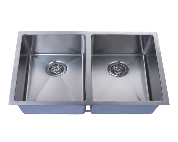 Hand Crafted, Undermount, R15 Double Bowl Kitchen Sink, Model: RR3219A (50/50)
